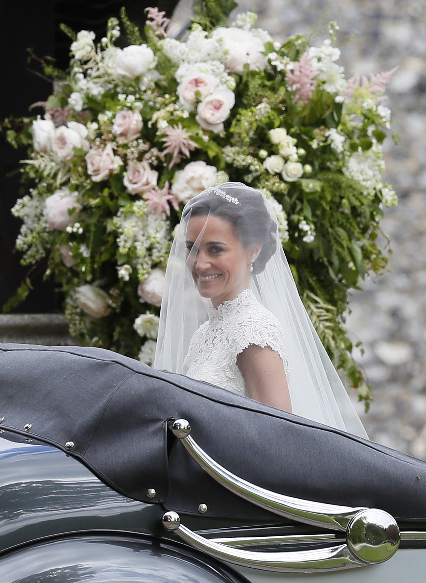 Pipa Middleton a su llegada a la  iglesia St Mark's en Eglefield  (AP Photo/Kirsty Wigglesworth, Pool)
