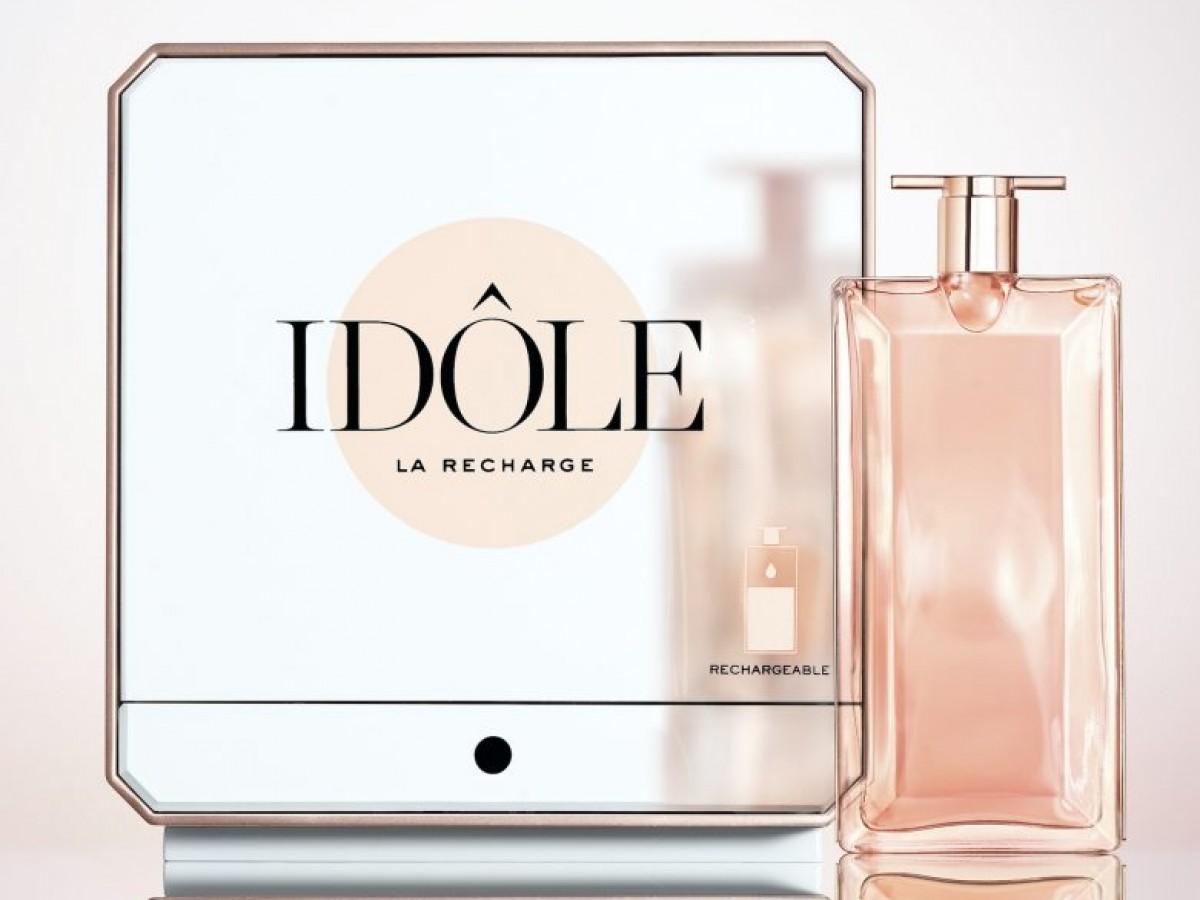 Rellena el frasco de tu fragancia Idôle en fuentes disponibles en los mostradores de Lancôme