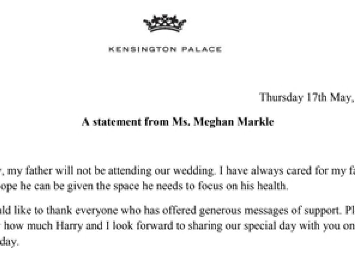 Meghan Markle confirma que su padre no irá a su boda con el príncipe Harry