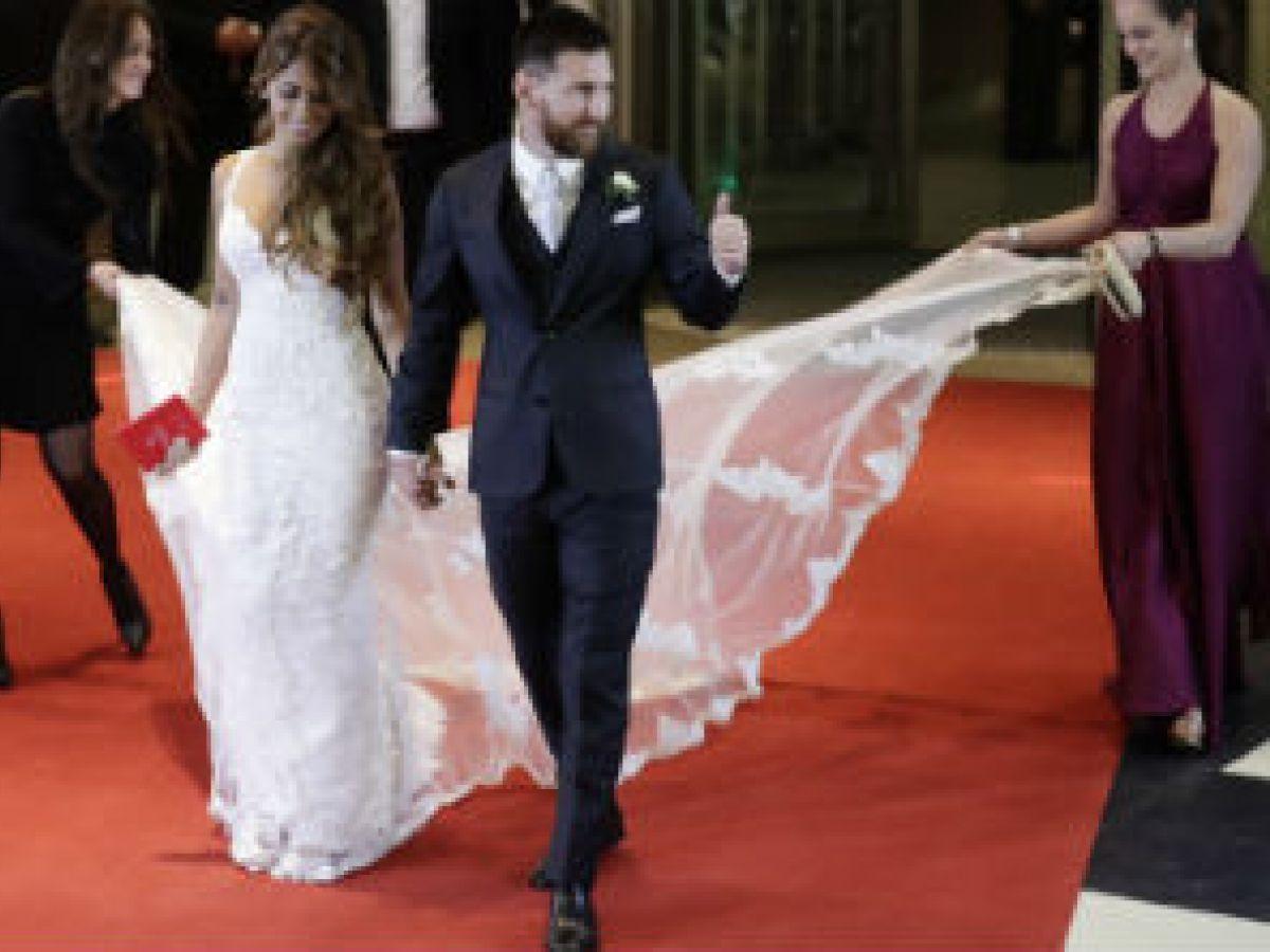 Todo sobre el traje y el arreglo de Antonella Roccuzzo para la boda