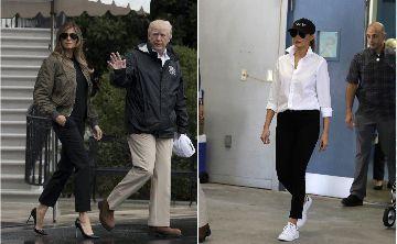 """Ante las críticas Melania Trump cambia los """"stilettos"""" por un par de tenis"""