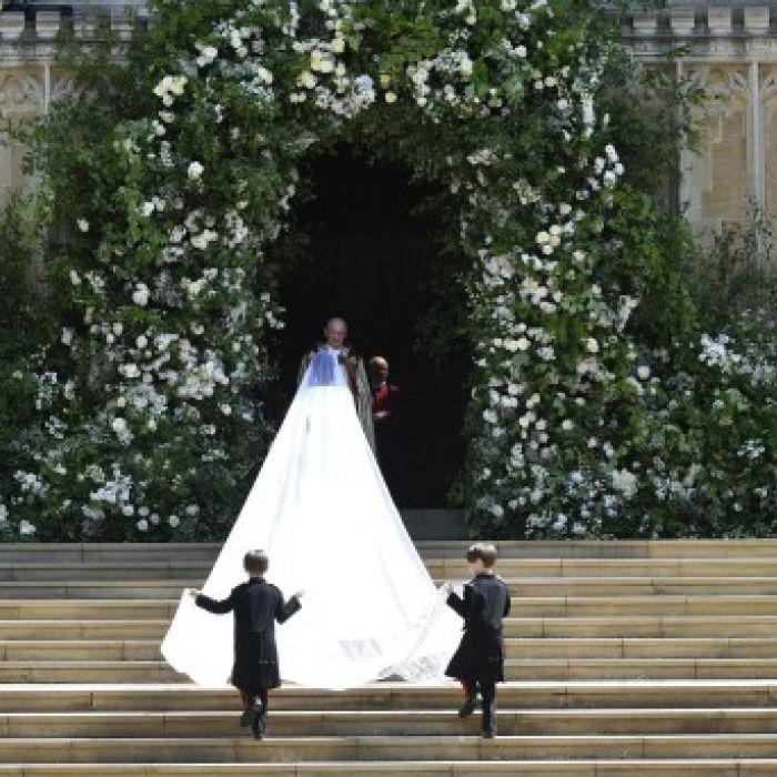 Llegada de Meghan Markle  a la capilla de Saint George del Castillo de Windsor