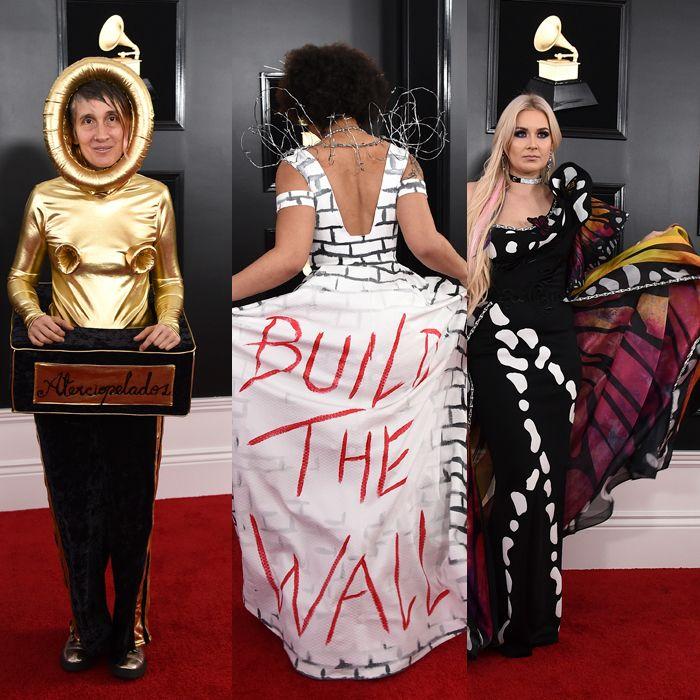 Mensajes y disfraces, entre los looks más llamativos de los Grammy 2019